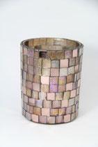 Windlicht MOZAC rosa Glas