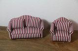 Miniatur Möbel Sofa Couch und Sessel blau weiß gestreift Puppenmöbel Miniaturmöbel