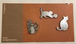 Pochette de 3 magnets métalliques thème chat