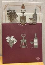Pochette de 3 magnets thème vin