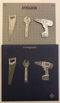 Pochette de 3 magnets métalliques thème bricolage