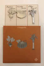 Pochette de 3 magnets thème légumes