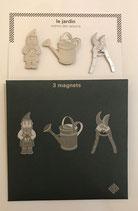 Pochette de 3 magnets thème jardin