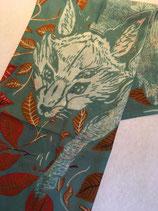Echarpe laine motif renard en marche
