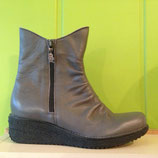 Bottines fronces 2 tirettes, talons, cuir gris, Loints