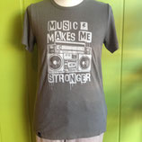 "t-shirt imprimé gris ""music makes me stronger"", uprise"