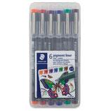 Staedtler Box Pigment liner à 6 Farben 0.5mm