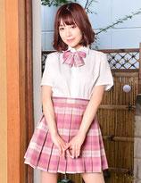 J008/チェック柄制服(シャツ・スカート・リボンの3点SET)