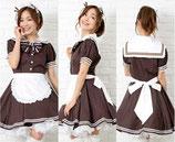 MD010/セーラー襟のチョコメイド(ワンピース・エプロン・カチューシャ・リボンセット)