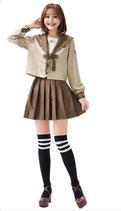 J018/マロンカラーのお嬢様女子高生(トップス・スカート・リボンの3点SET)