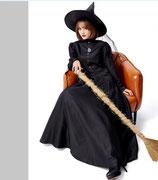 HLW11/ブラックのロング袖ウィッチ(ワンピース・帽子・パニエセット)