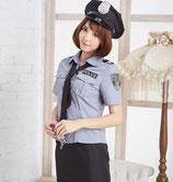 PO09/グレーのSEXYポリス(帽子・トップス・スカート・シャツの4点SET)