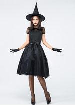 HLW07/ブラックのSEXY魔女(ワンピース・帽子・ベルト・グローブの4点SET)