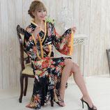 OD04/花魁風帯付き総和柄サテン裾フリルロングドレス