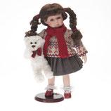 Porzellan-Puppe, Strickpullover & Teddy, 36 cm, Holzständer