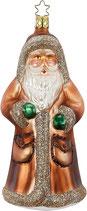 Santa Klaus, 16,5 cm, Serie Woodland, Inge-Glas, Christbaumschmuck mit Sternenkrönchen