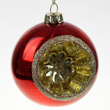 Glaskugel mit Reflektor rot, D 8 cm