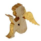 Engel mit goldenen Flügeln, Holz/Metall, Höhe 15,5 cm