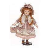 Porzellan-Puppe, Stoffhut, 42 cm, Holzständer
