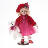 Porzellan-Puppe, rotes Tüllkleid, Teddy, 36 cm, Holzständer