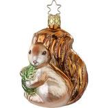 Christbaumschmuck Christbaumhänger Inge-Glas mit Sternenkrönchen, handbemalt und mundgeblasen, Eichhörnchen, 9.5 cm