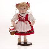 Porzellan-Trachtenpuppe Mädchen, 30 cm, Holzständer