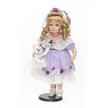 Porzellan-Puppe, lila, Plüschbär, 53 cm, Holzständer