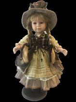 Porzellan-Puppe mit Tasche und Hut, 42 cm, Holzständer