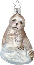 Niedliche Robbe, Inge-Glas, handbemalt und mundgeblasen, 10 cm