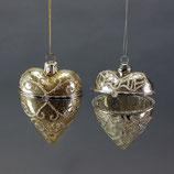 Galsherz zum Öffnen, Set von 2 Stück, Gold/Silber, 9 cm