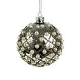 Glaskugel mit Perlen, silber, glänzend, D 8 cm