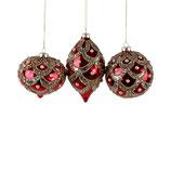 Glaskugel/Glaszwiebel/Glaszapfen, rot/gold, Royal Pearls, 3-sortiert, 10/15 cm