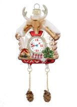 Kuckucksuhr, Glas, 17,5 cm, figürlicher Glasschmuck