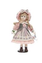 Porzellan-Puppe, 42 cm, Gießkanne, Holzständer
