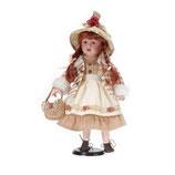 Porzellan-Puppe, Handtasche, 42 cm, Holzständer
