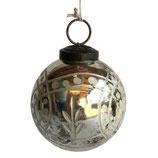 Kugel, 12,5 cm, dickes geschliffenes Glas, silber