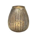 Windlicht St. Moritz, antik gold, gestreift, Glas, D 10 cm, H 12 cm