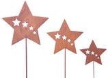 Stern für Außendeko, 35 cm Durchmesser, Stablänge 120 cm, rost