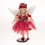 Porzellan-Puppe, Federflügel, rotes Tüllkleid, 43 cm