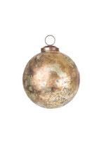 Kugel, 12 cm, Glas, gold gemustert