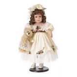 Porzellan-Puppe, creme, Plüschbär, 58 cm, Holzständer