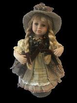 Porzellan-Puppe mit Tasche und Hut, 30 cm, Holzständer