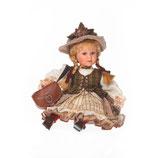 Porzellan-Puppe mit Tasche und Hut, 32 cm, Sitzpuppe