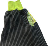 leinen pirat x-small, nadelstreif schwarz mit kiwi