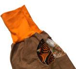 piratenhose 152-164, mit piratentaschen, braun mit orange