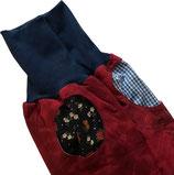 piratenhose 110-134, mit piratentaschen, batik rot