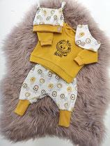 Löwen Set -  Sweater + Knotenmütze + Dreieckstuch + Pumphose