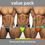 ADDICTED Three Pack Light Jockstrap