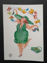 """Postkarte aus der Serie """"Die kleine Madame reist"""" Motiv 4"""
