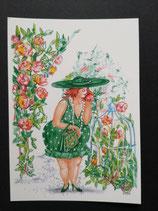 """Postkarte aus der Serie """"Die kleine Madame reist"""" Motiv 5"""